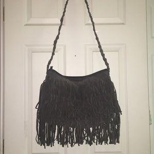 gray fringe bag